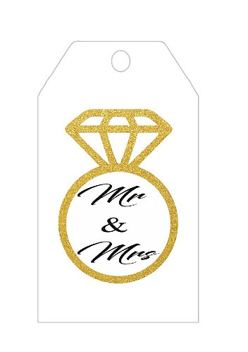 MR & MRS Engaged Wedding Gifts Tags - 12 pcs set