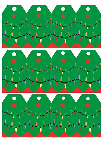 Christmas Tree Gifts Tags - 12 pcs set