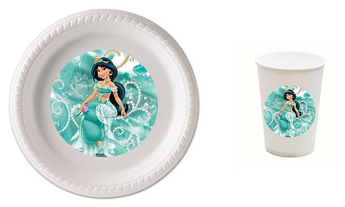 Princess Jasmin Aladdin Plastic Plates with Cups - 12 pcs set