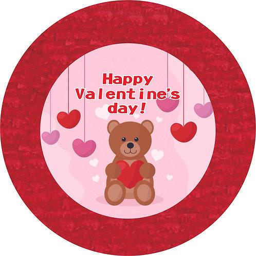 Valentines Day Teddy Bear Birthday Party Pull Strings Pinata Round - 35 cm