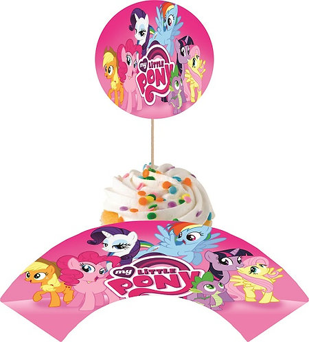 My Little Pony Round Cupcakes Toppers or Wrappers -12 or 24 pcs