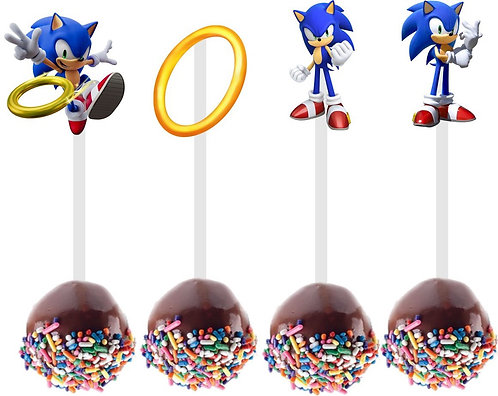 Sonic Game Cakepops Toppers - 12 pcs s