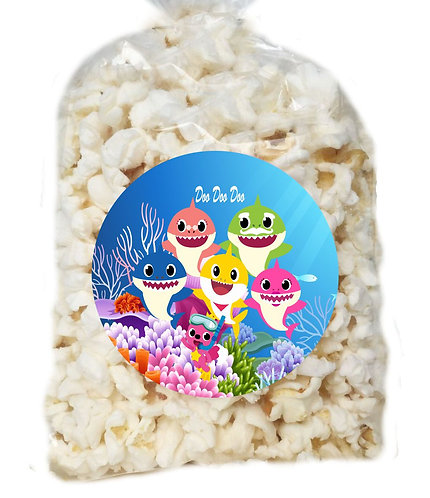 Baby Shark Giveaways Clear Bags for Popcorn or Candies - 12 pcs set