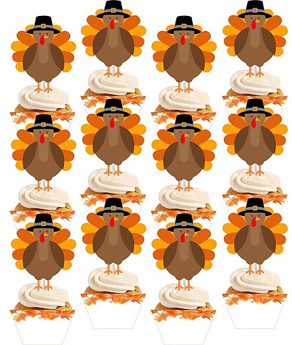 THANKSGIVING Cupcakes Toppers or Wrappers - 12 or