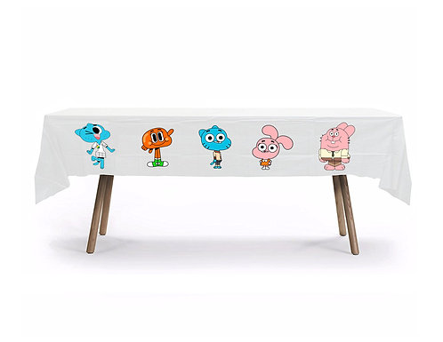 Gumball Plastic Table Cover with Stickers - 140 cm x 275cm