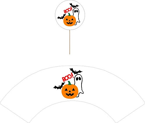 BOO! Halloween Round Cupcakes Toppers or Wrappers -12 or 24 pcs