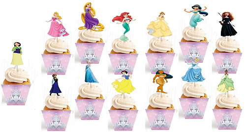 All Princess Characters Toppers or Wrappers - 12 or 24 pcs