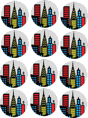 Superheroes Round Glossy Stickers - 12 pcs set