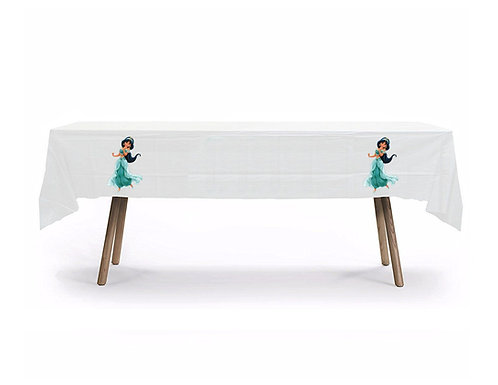 Princess Jasmin Aladdin Plastic Table Cover with Stickers - 140 cm x 275 cm