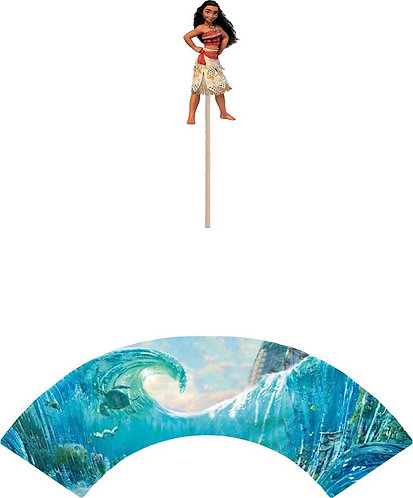 Princess Moana Cupcakes Toppers or Wrappers -12 or 24 pcs