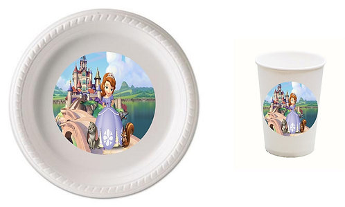 Princess Sofia the First Plastic Plates with Cups - 12 pcs set