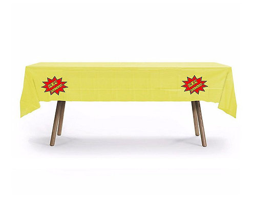 Calling All Superheroes Plastic Table Cover with Stickers - 140 cm x 275cm