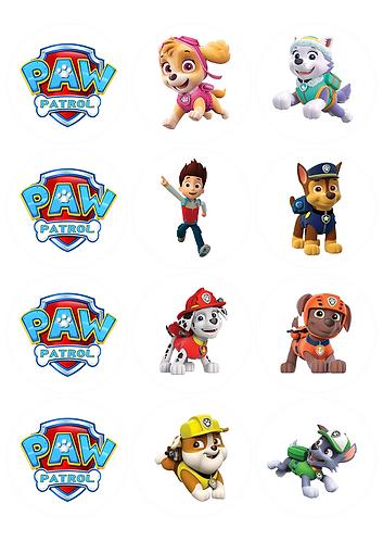 Paw Patrol Characters Round Glossy Stickers - 12 pcs set