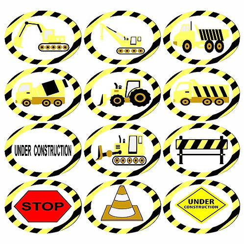 Under Construction Shapes Round Glossy Stickers - 12 pcs set