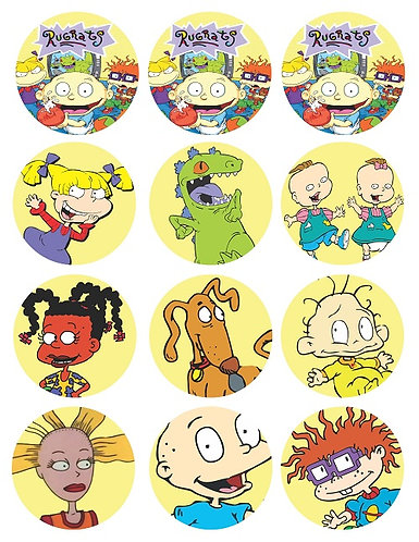 Rugrats Characters Round Glossy Stickers - 12 pcs set