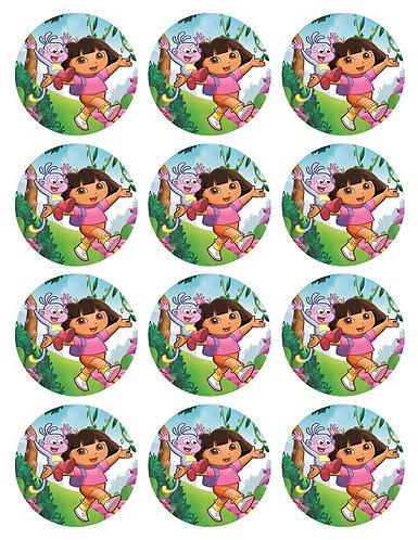 Dora the Explorer Round Glossy Stickers - 12 pcs set