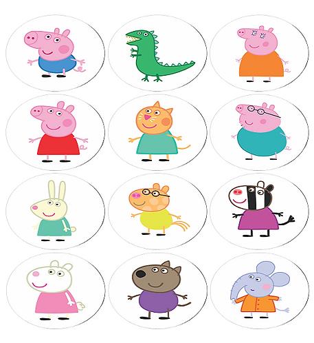 Peppa Pig Characters Round Glossy Stickers - 12 pcs set
