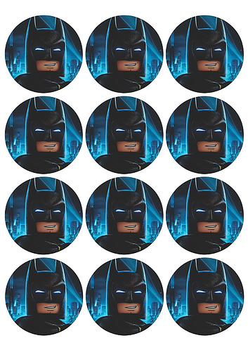 Batman Lego Round Glossy Stickers - 12 pcs set