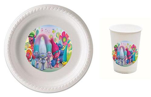 Trolls Plastic Plates with Cups - 12 pcs set