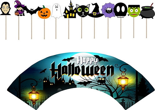 Halloween Characters Cupcakes Toppers or Wrappers -12 or 24 pcs