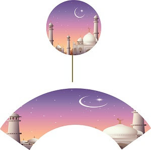 Ramadan EID Masjid Round Toppers or Wrappers -12 or 24pcs