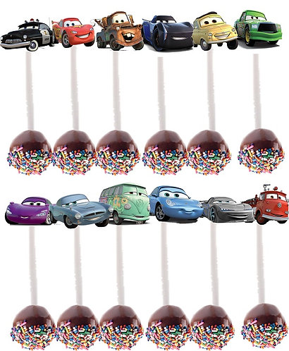 Cars Characters Cakepops Toppers - 12 pcs set