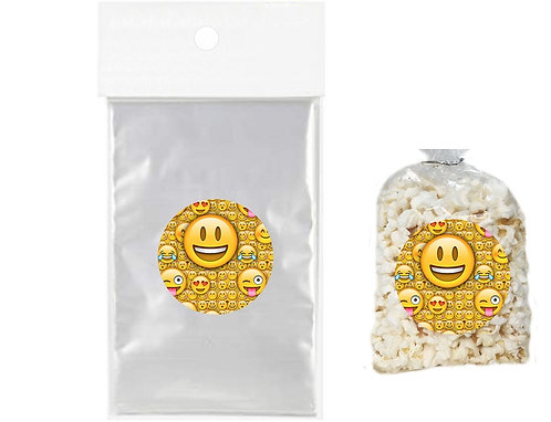 Emoji Giveaways Clear Bags for Popcorn or Candies - 12 pcs set