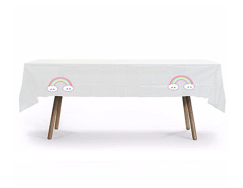 Clouds Rainbow Unicorn Plastic Table Cover with Stickers - 140 cm x 275cm