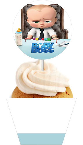 Boss Baby Round Cupcakes Toppers or Wrappers -12 or 24pcs
