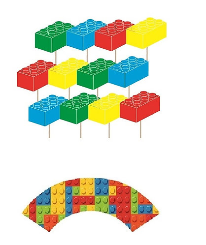 Lego Blocks Cupcakes Toppers or Wrappers -12 or 24 pcs