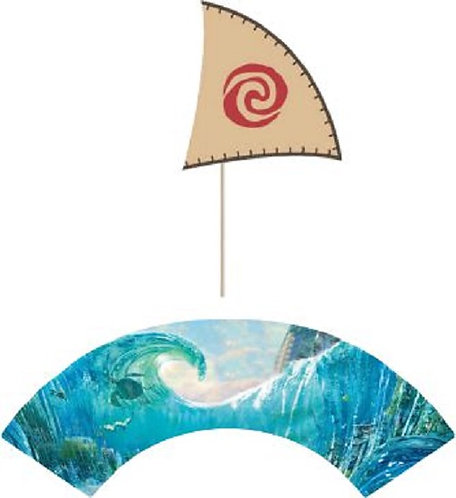 Moana Boat Flags Cupcakes Toppers or Wrappers -12 or 24 pcs