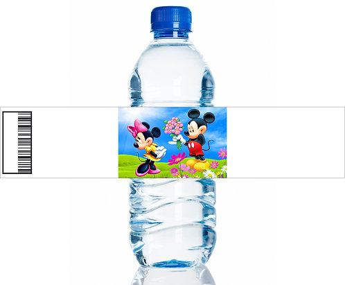 Mickey Minnie Water Bottles Stickers - 6 pcs set