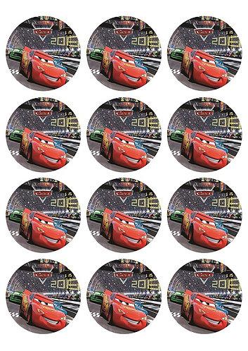 Cars Round Glossy Stickers - 12 pcs set