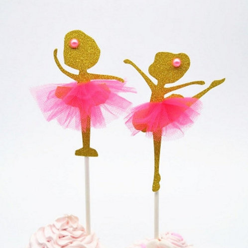 Gold Ballerina with Dress Cupcakes Toppers or Wrappers -12 or 24