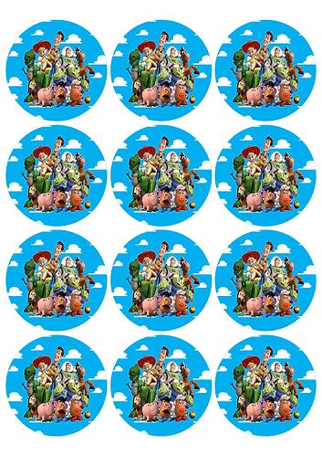 Toy Story Round Glossy Stickers - 12 pcs set