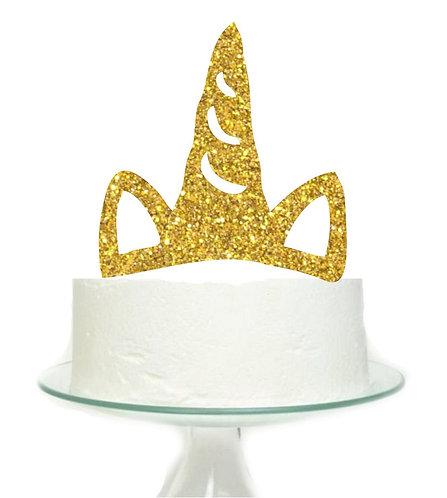 Unicorn Horn Golden Big Topper for Cake - 1 pcs set