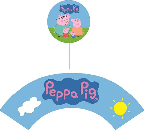 Peppa Pig Round Cupcakes Toppers or Wrappers -12 or 24 pcs