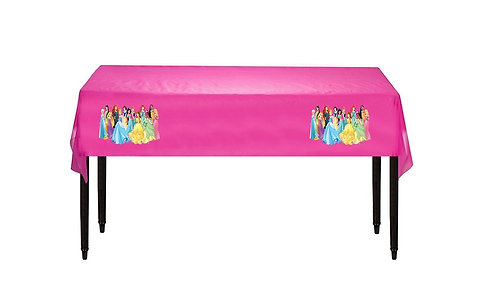 Princess Plastic Table Cover with Stickers - 140 cm x 275cm
