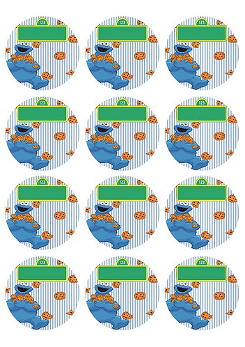 Sesame Street Cookie Monster Round Glossy Stickers - 12 pcs set