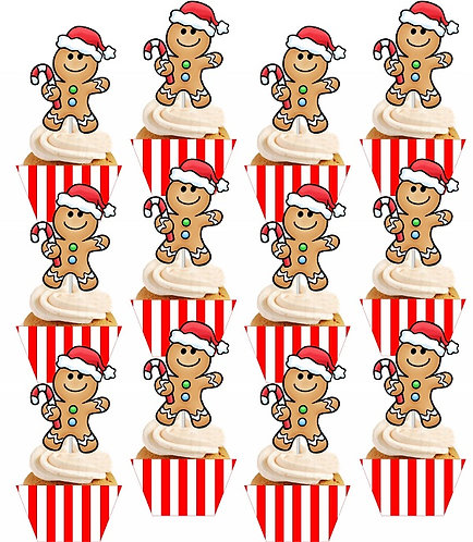 CHRISTMAS Cupcakes Toppers or Wrappers - 12 or 24pcs