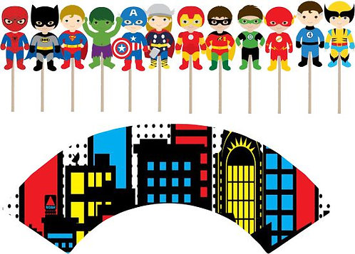 Superheroes Boys Cupcakes Toppers or Wrappers -12 or 24pcs