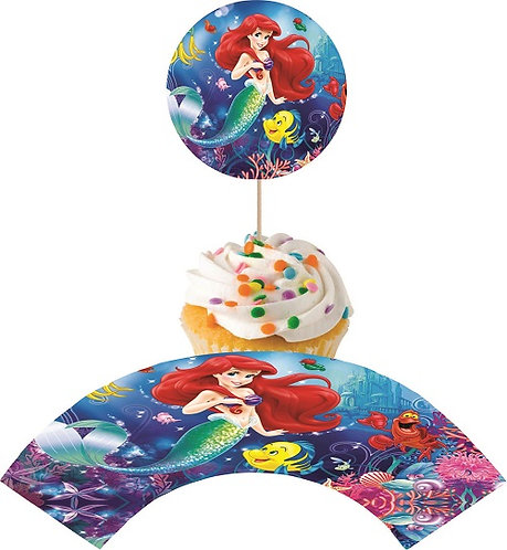 Princess Ariel Little Mermaid Round Cupcakes Toppers or Wrappers - 12 or 24pcs
