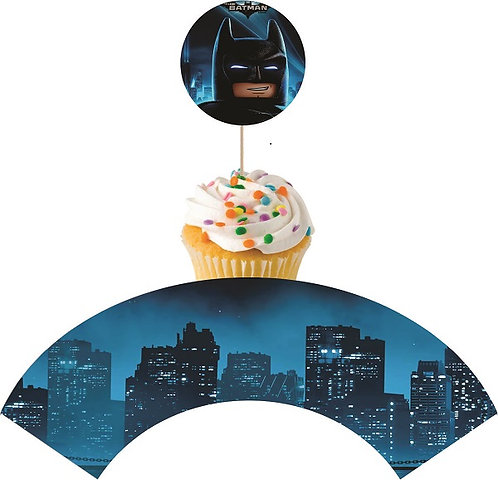 Batman Lego Round Cupcakes Toppers or Wrappers -12 or 24 pcs