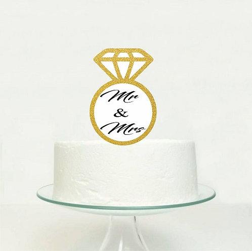 MR MRS Ring Engaged Wedding Big Topper for Cake - 1 pcs set