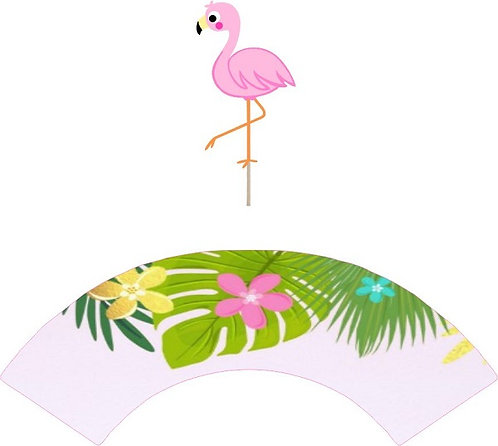 Flamingo Cupcakes Toppers or Wrappers -12 or 24pcs