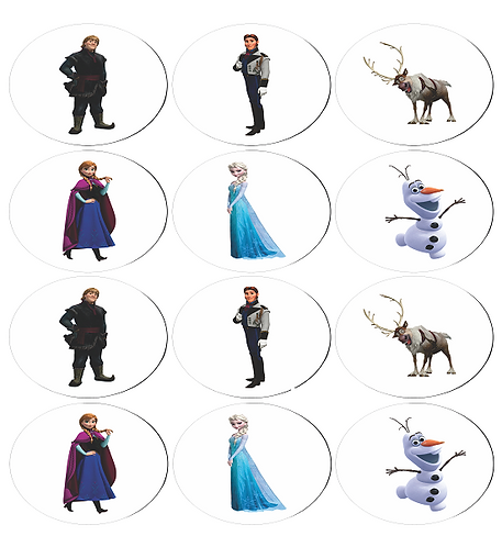 Frozen Characters Round Glossy Stickers - 12 pcs set