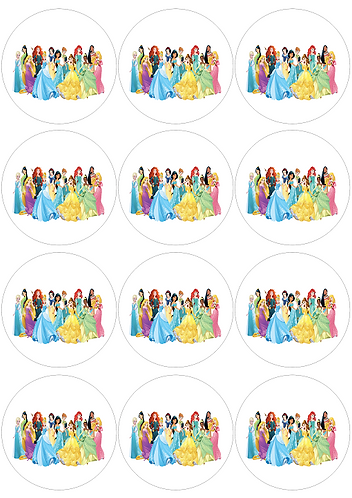 Princess White Round Glossy Stickers - 12 pcs set