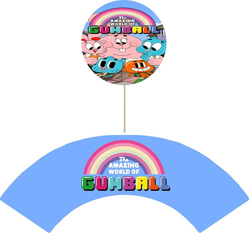 Gumball Round Cupcakes Toppers or Wrappers -12 or 24 pcs