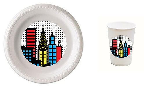 Superheroes Plastic Plates with Cups - 12 pcs set