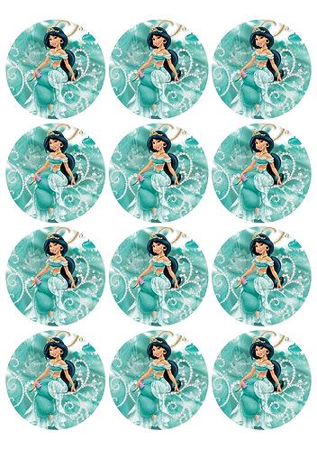 Princess Jasmin Aladdin Round Glossy Stickers - 12 pcs set